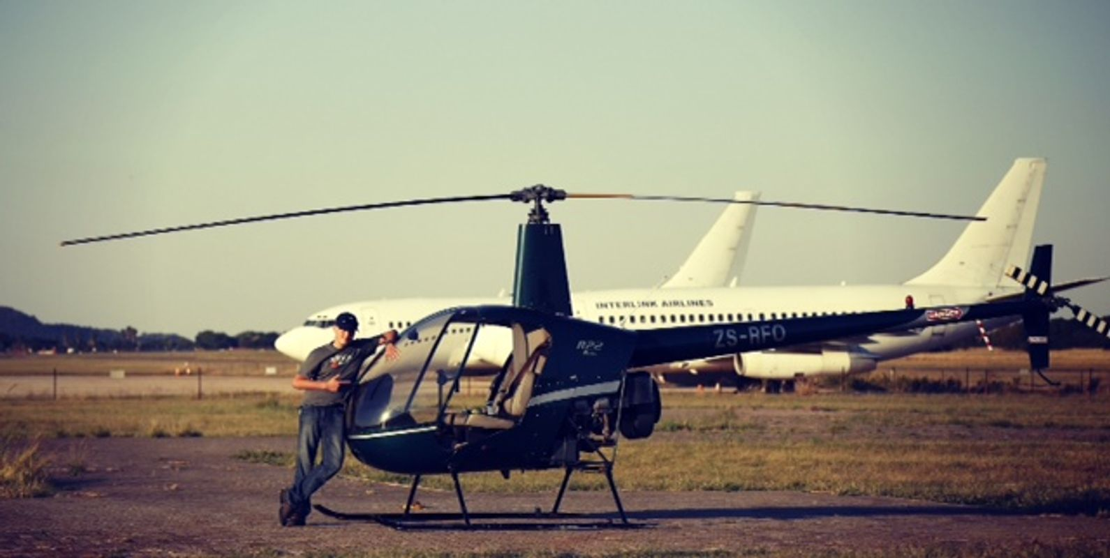 Pilot and helicopter