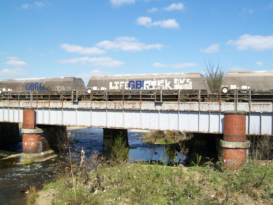 Hopper wagon covered in graffiti - one for railway modellers