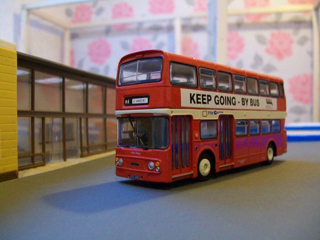 Fleetline bus model at Swiss cottage station, on my model railway under construction 2017.