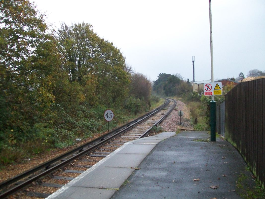 Shanklin station, looking towards the next station at Lake