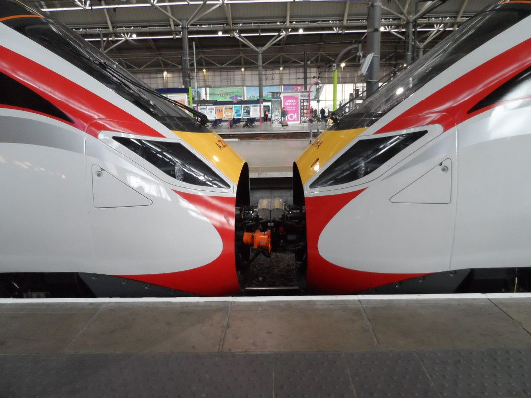 LNER Azuma trains coupled together at Leeds station Monday 8th May 2019