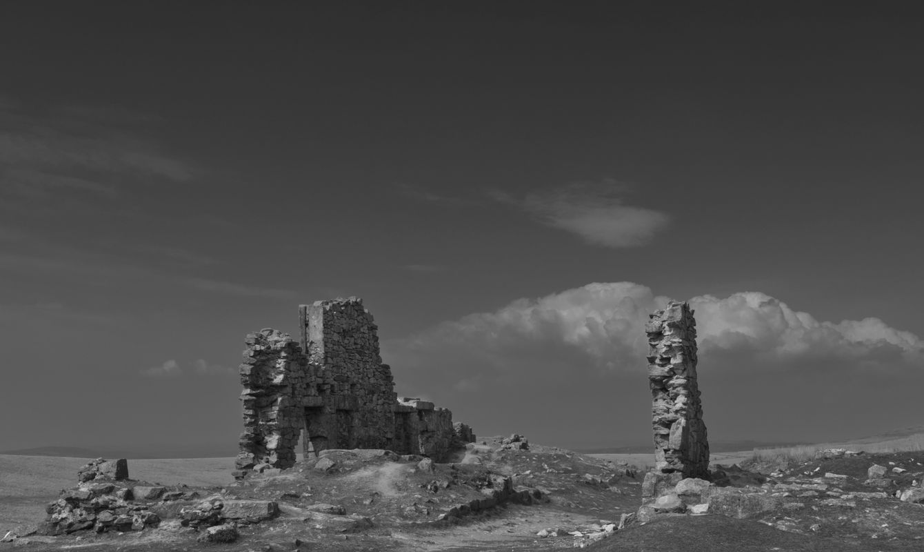 Black and White image of old ruins