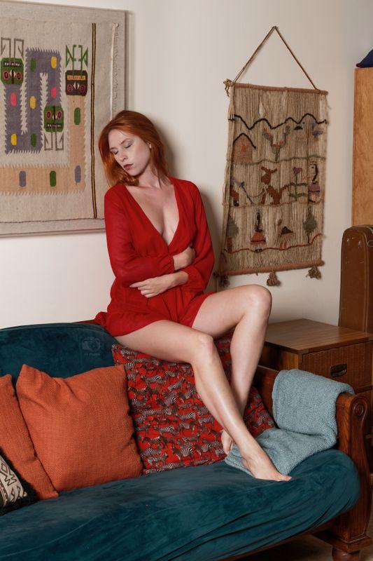 Astrid Kallsen, Red Robe on Couch, Treasure Coast, FL, 2021-06-20
