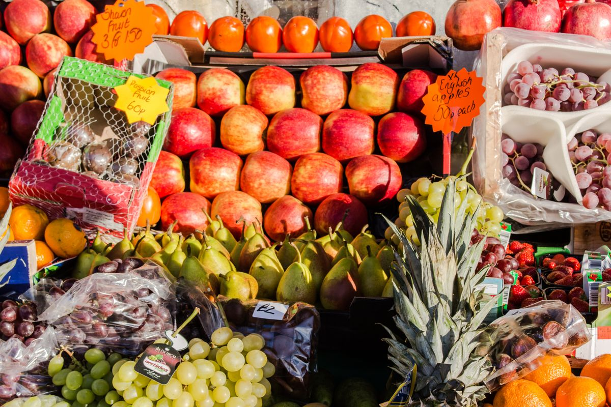 Market stall with fresh fruit.