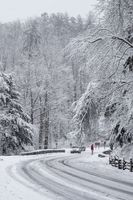 Heavy snow fall Christmas day in the Smoky Mountains. White Christmas, Winter Wonderland