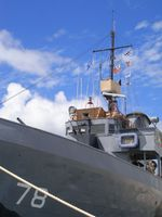 Nautical flags fly high on USS Mohawk Navy ship in Key West, FL, US Navy, US Military