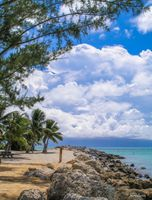 Rocky, sunny beach in Fort Zachary Taylor Historic State Park, Key West, FL, US - tropical beach