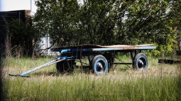 Old handcart with rubber tyres on an industrial site of the steag power plant in lünen