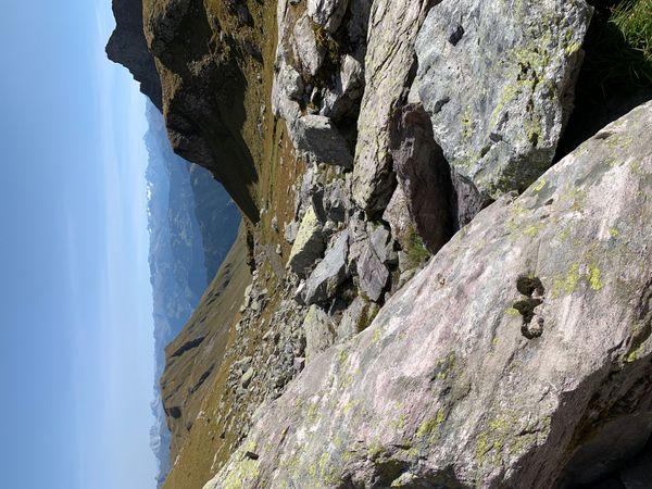 "Mountain hiking trail ""Five lakes"" in tectonic arena Sardona in region Pizol in Switzerland."
