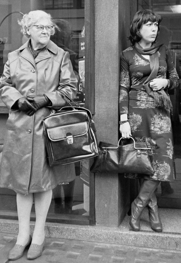 Bag ladies....an age apart. Fleet Street London 1970s