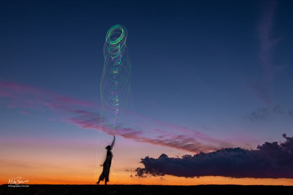 Light Trails At Sunset
