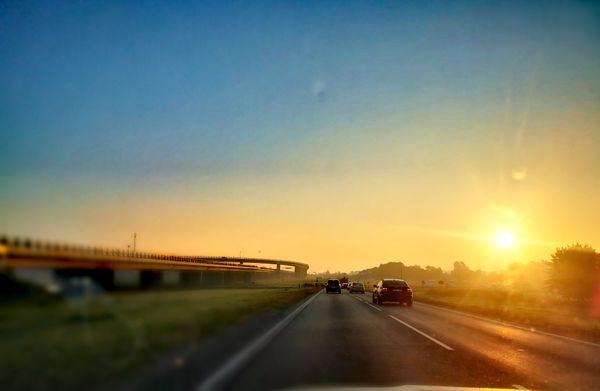 Sunrise through the car window.