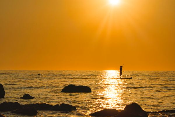 One lonely paddle boarder