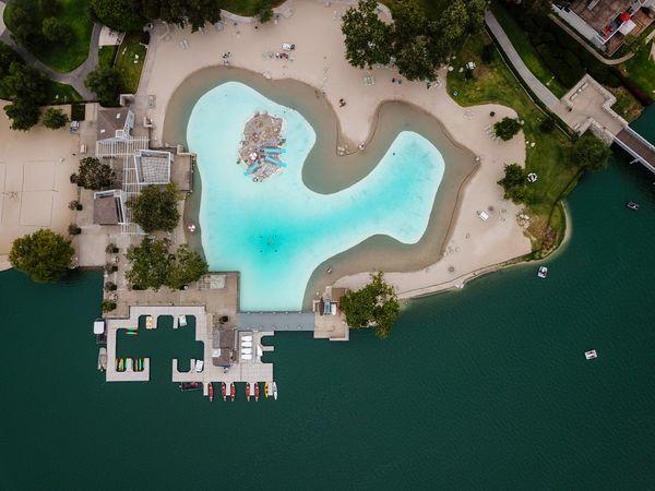 Pool beside a lake