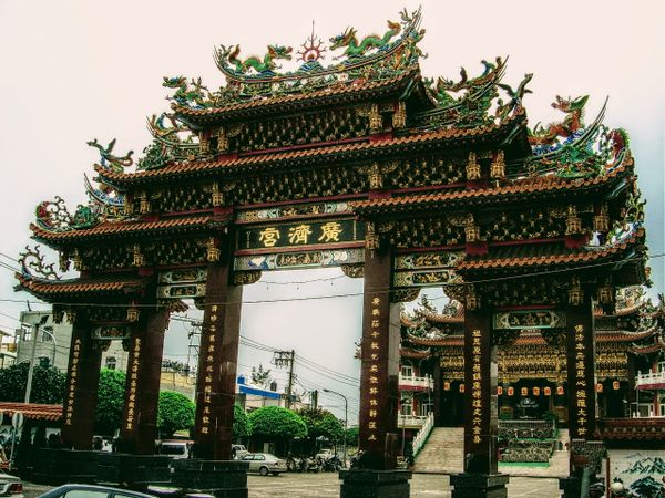 The entrance to a Taiwanese temple