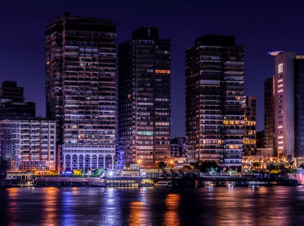 Architecture And Cityscape In Egypt At Night