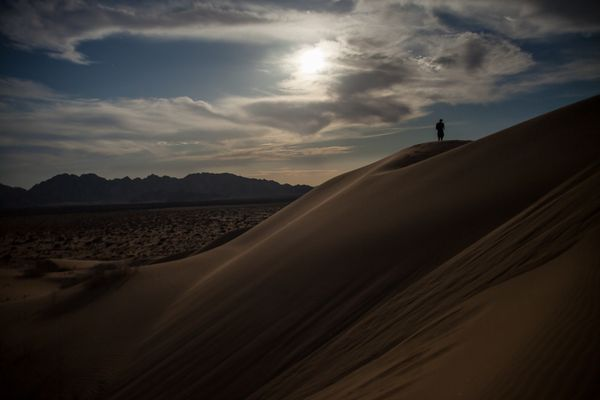 Moonlight over the dunes of Gran Desierto de Altar
