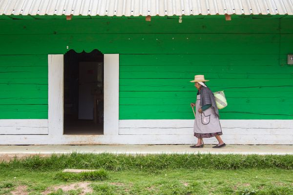 Old lady walking by a green house