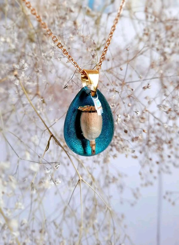 Handmade necklace with natural flower, amaizing turquoise blue color