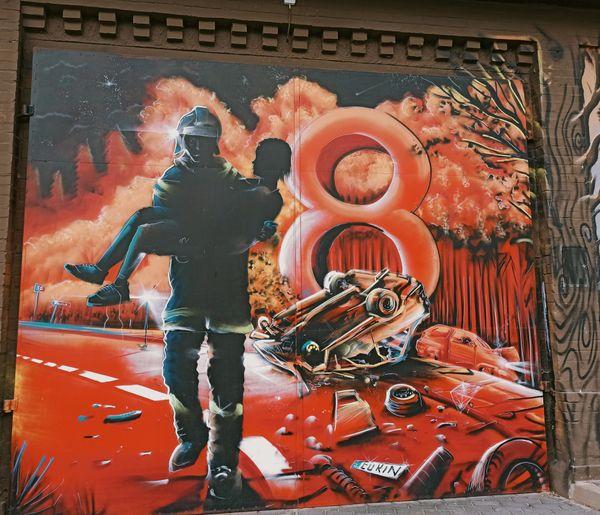 Graffiti made for volunteer firefighters,building of the volunteer fire brigade, Bobolice, Poland (2)