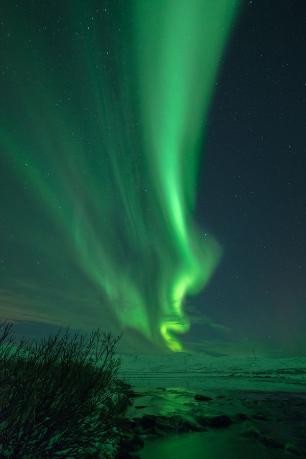 Northern lights above a small river