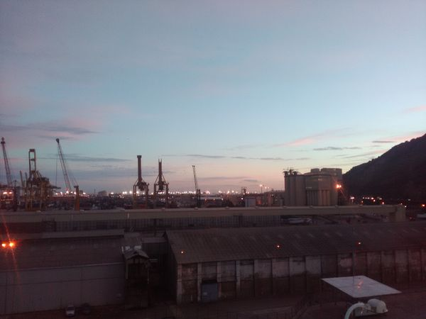 The clear sky at the port