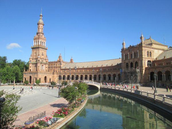 The waterway in the Plaza de España in Seville, Spain