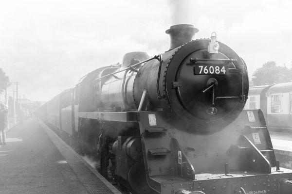 Steam train in monochrome