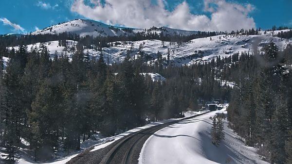 Sierra Nevada mountian range located in California USA, on board Amtraks California Zephyr