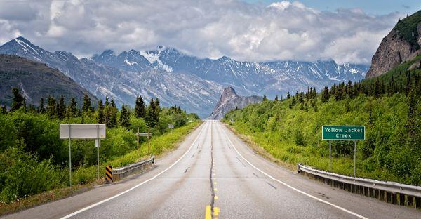 Glenn  Highway and Lion Head, Alaska, USA