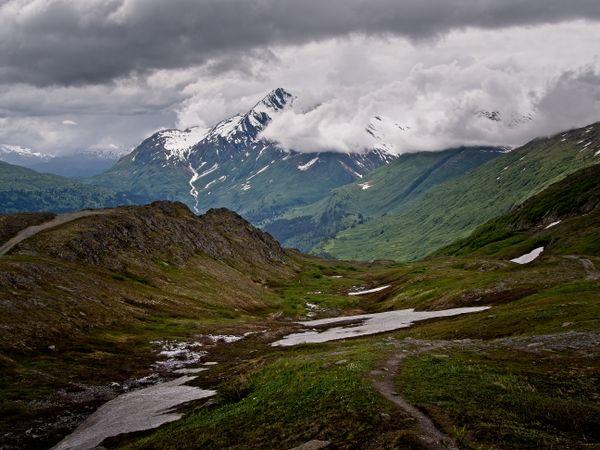 View from Thompson Pass summit overlook.  Chugach Mountains, Alaska, USA