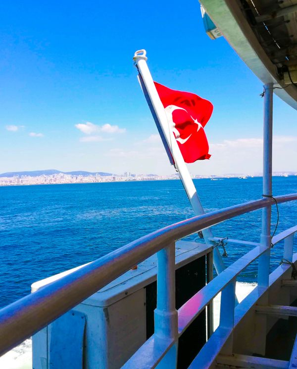 Turkish Flag in Boat