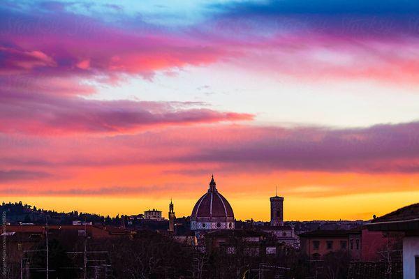 Sunset rainbow sky