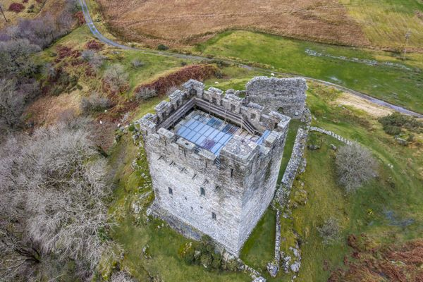 Dolwyddelan Castle, Snowdonia. Aerial Image.