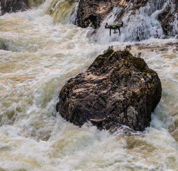 River in flood, Drone in flight.Wales
