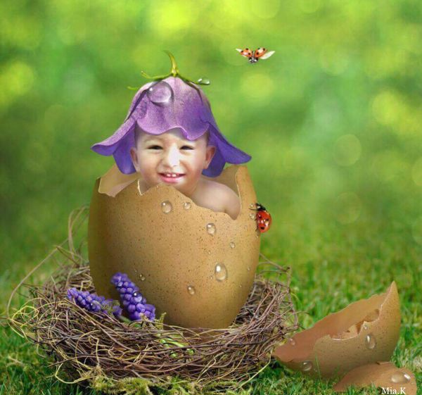Wallpaper Baby in an eggshell