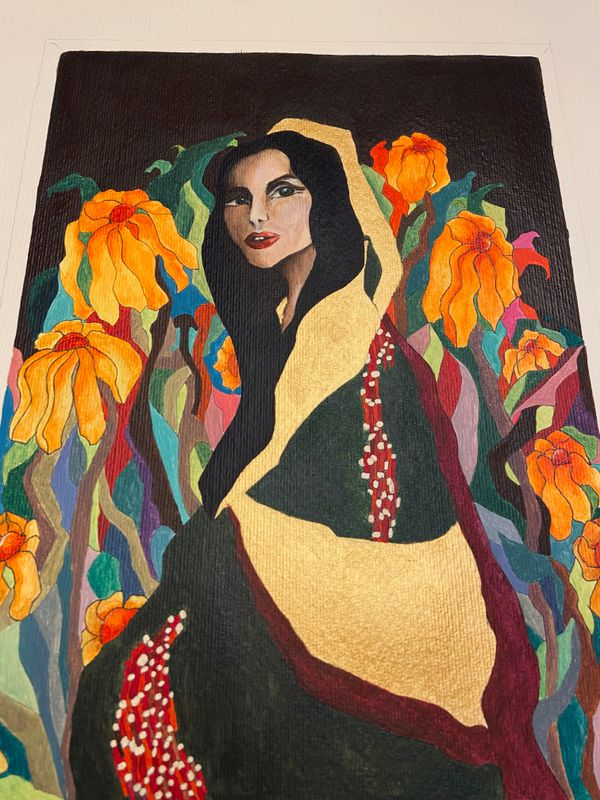 Woman hidden in the garden, acrylic on paper, 20x25
