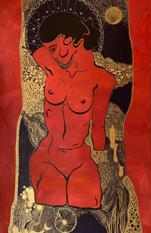 Woman on the moon, acrylic on canvas 120x80 20