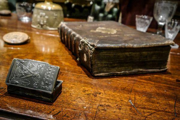 Freemasons book and inkwell