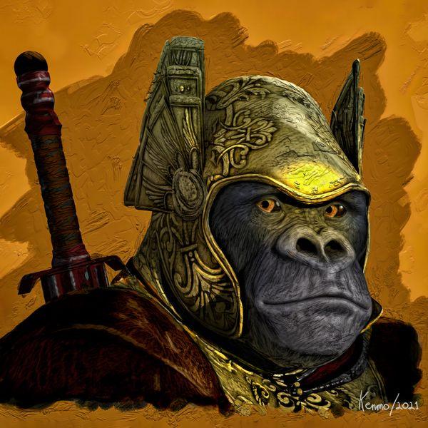Ape with Gold Helmet