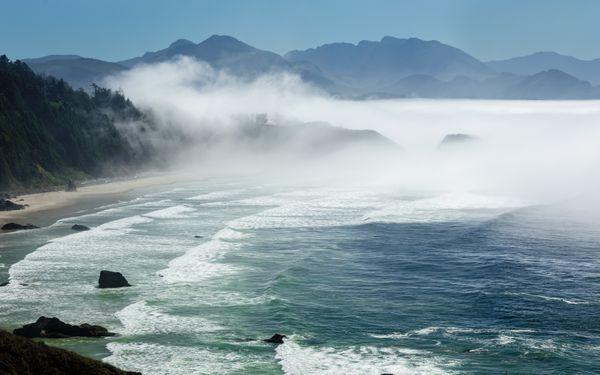 Sun & Fog -  Ocean & Rock