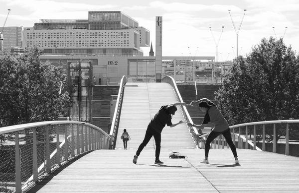 Doing figures on the footbridge