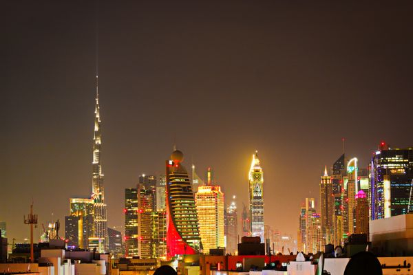 Illuminated skyline of Dubai City at Night
