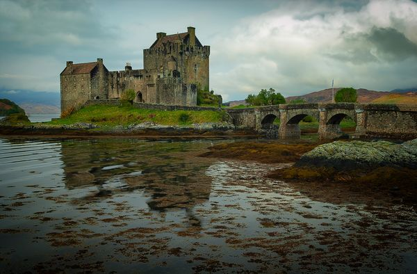 Eilean Donan Castle with Stone Bridge, Kyle of Lochalsh, Highlands, Scotland