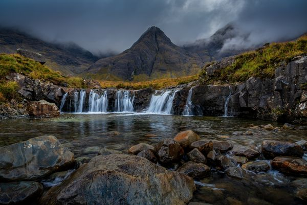 Main Waterfall at the Fairy Pools, River Brittle, Glenbrittle, Isle of Skye, Scotland