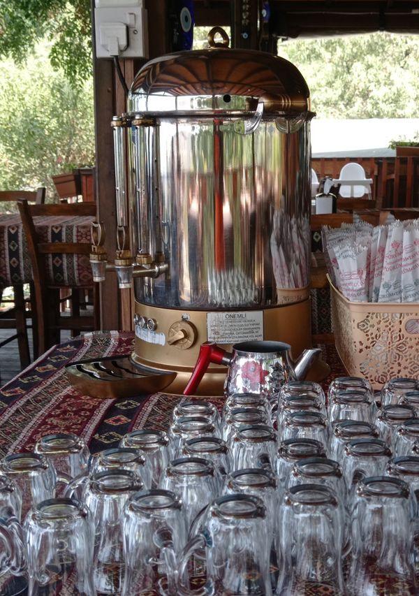 Self serving Turkish tea at holiday retreat