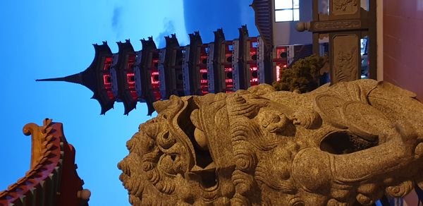 Chin Swee Caves Temple pagoda view during late sunset in Genting, Malaysia