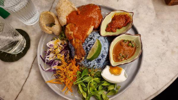 Delicious nasi kerabu at a restaurant in Kuala Lumpur