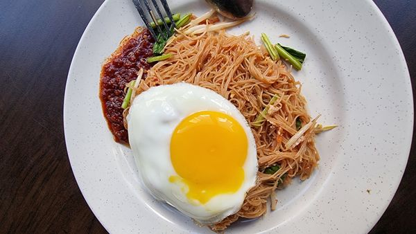Noodle with egg for breakfast
