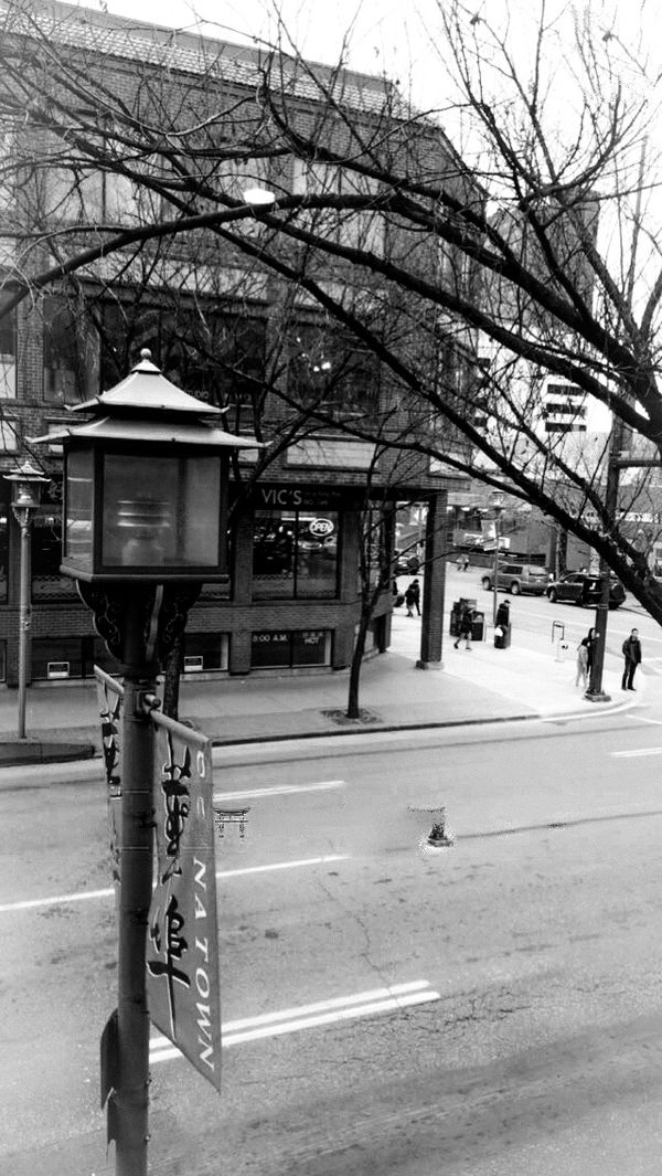 The Streets of Chinatown, Downtown Calgary, Black and white photography